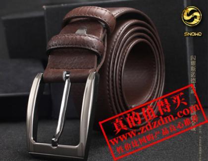 新款斯诺德 snowd 男士休闲韩版腰带针扣 真皮皮带,买特网36元