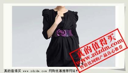 京东:Bessie 2011 玫瑰花腰带优雅连衣裙BS11AD015 黑色 L只需99原价369