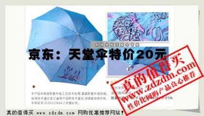 京东特价:2011天堂伞 307E闪银丝印实用钢骨变色晴雨伞 4号色原价45现价20元