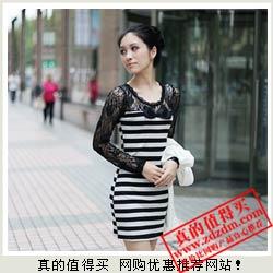 白菜价:韩版蕾丝拼接条纹T恤连衣裙 19.5元包邮