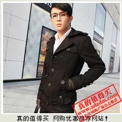 VIP专享 修身潮男式单排扣短款风衣外套风衣 特价49.75元包邮