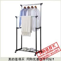 亚马逊:空间大师双杆防锈碳钢烤漆晾衣架HOM8418特价29元包邮 原价99(断货)
