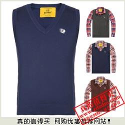 VIP专享 GU1981 100%棉 英伦风男士V领背心针织衫特价仅23.66元包邮