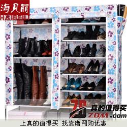 海贝丽 欧式 无纺布双排 六层加厚钢管鞋架42.8元包邮