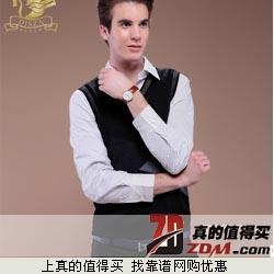 Disza 28.2%羊毛混纺 加厚V领针织背心下单享20元包邮 假两件针织衬衫29元