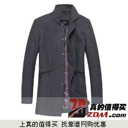 ZZE 50%羊毛 单排扣 中长款 毛呢风衣外套下单享99元包邮
