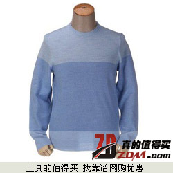 京东:Calvin Klein卡文克莱100%美利奴羊毛拼色圆领羊毛衫369元包邮 5款可选