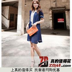 小资太太 2014新款韩版短袖娃娃领雪纺连衣裙  拍下35元包邮  两色可选