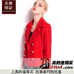 天使印记 2014年秋季韩版翻领气质短款毛呢外套  72元包邮 五色可选