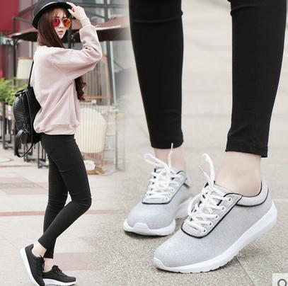 翡纳思  春季新款韩版女士休闲运动系带跑步鞋