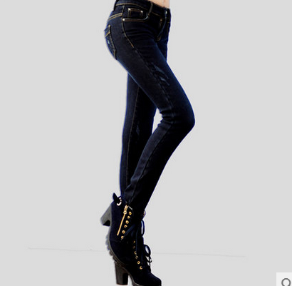 梦西娃  春季薄款修身小脚牛仔长裤