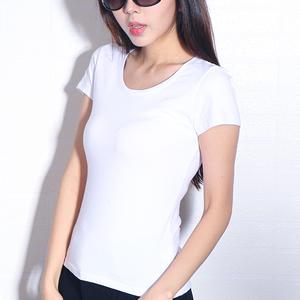 四季伊梦 纯棉白色修身短袖T恤