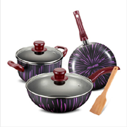 爱仕达WG03CTJS紫红流星不粘锅具套装三件套