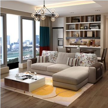 紫茉莉 布艺沙发组合舒适款3人位+贵妃位