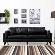 奥古拉家具简约现代皮艺三人组合沙发