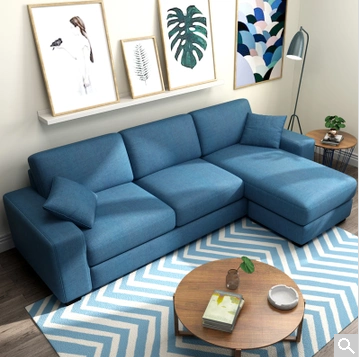 夏树 日式北欧简约可拆洗布艺沙发转角组合2.1米三人位+脚踏
