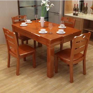 健舒宝橡木实木餐桌椅组合1.3M/0.8M