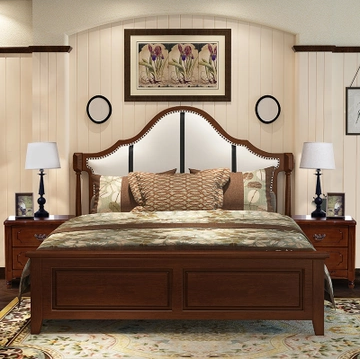 美天乐美式乡村田园实木床1.8*2米框架床