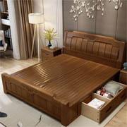 忆斧至家  中式框架结构实木床+椰棕床垫1.8米