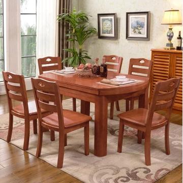 木巴折叠实木餐桌椅组合CZ154+YZ320一桌六椅