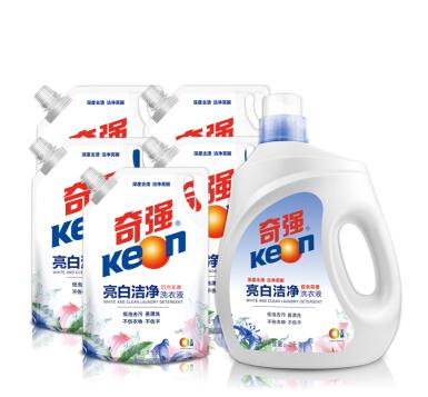 keon奇强 亮白洁净洗衣液家庭装百合花香2kg/瓶+2kg*5袋装12kg套装