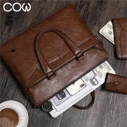 法国COW C-8609男包公文包单肩包+钱包+卡包组合